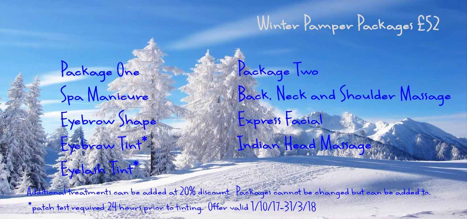 winter pamper packages, hair & beauty salons, didcot, wantage, marlborough